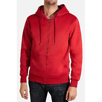 Straight-cut zippered hooded sweatshirt