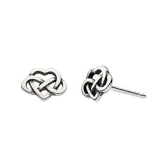 Heritage Sterling Silver Celtic Heart With Knot Stud Earrings 4265HP026