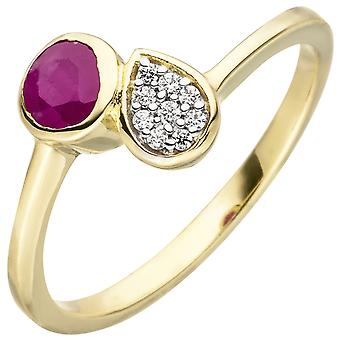 Kvinnors Ring 333 Guld gult guld 1 Ruby Red 9 Zirconia Ruby Ring