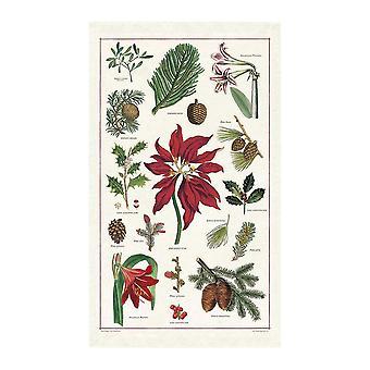 Cavallini Vintage Christmas Botanica Cotton Tea Towel