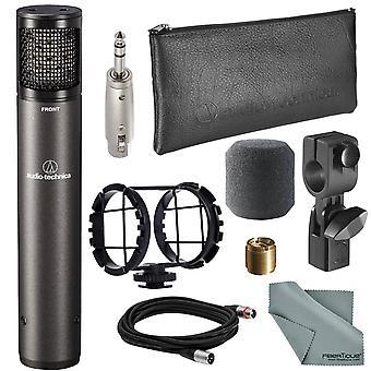 Audio-technica atm450 kardioid kondensor instrument mikrofon bunt med adapter + stötfäste + kabel + fibertique trasa