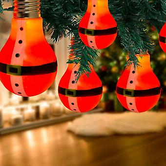 Battery Operated 10 LED Santa Retro Bulb Shaped String Lights, Plastic, Red