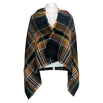 Rachel Hollis Ltd. Plaid Blanket Scarf Fringe Detail Green / OrangeA374150