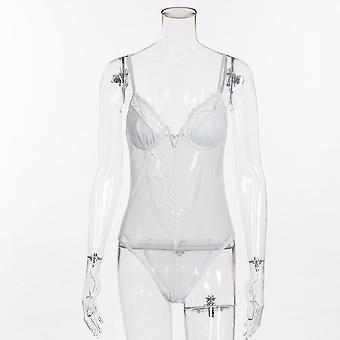 Fashion 3 Colors V Neck Lace Sexy Ladies Mesh Bodysuit Overalls