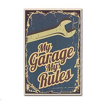 私のガレージ私のルール装飾ヴィンテージクラフト紙クラシック映画ポスターマップ