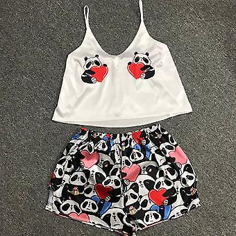 Kobiety Jedwab sexy piżamy Sleepwear Satynowy dom garnitur letnia piżama
