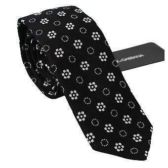 Black 100% silk floral print print classic tie