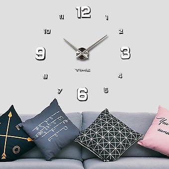 Moderne stumme diy rahmenlose große Wanduhr 3d Spiegel Aufkleber Metall große Uhren Home Office Dekorationen