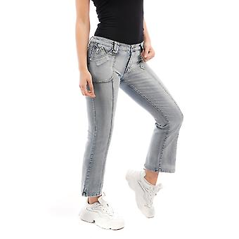 Bleach Kick Flare Jeans Cropped Bootcut Jeans - Azul