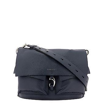 Orciani B02090softnavy Women's Blue Leather Shoulder Bag