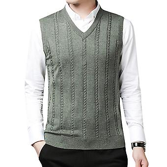 Men's  Lightweight Knitted Striped V-neck Casual Sleeveless Sweater