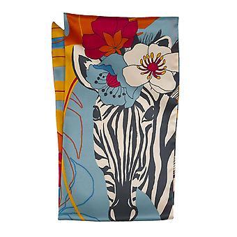Powder Floral Zebra Satin Neck Scarf