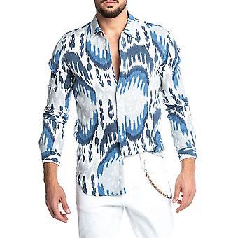 يانغفان الرجال & apos شعبية المطبوعة Lapel قميص طويل الأكمام