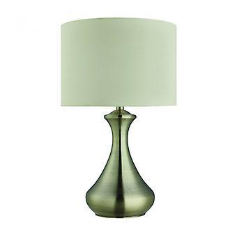 Lámpara De Mesa Touch Lamps, En Latón Antiguo, Pantalla Crema