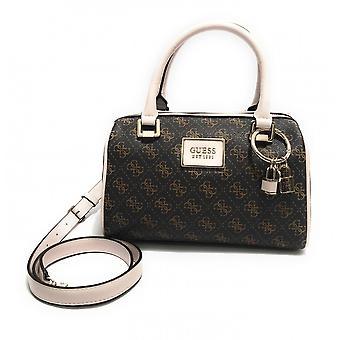 Guess Tyren Box Satchel Bag In Ecopelle Brown/ Stone Donna Bs21gu04 Sg796605
