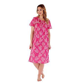 Slenderella ND55212 Women's Raspberry Floral Cotton Nightdress