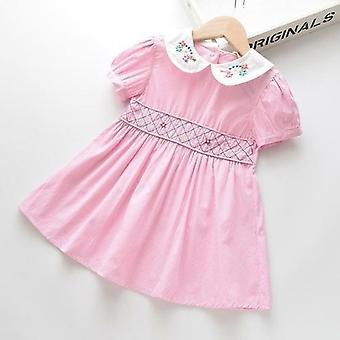 Smocked Принцесса платье вышивка цветочный твердый цвет Винтаж платье