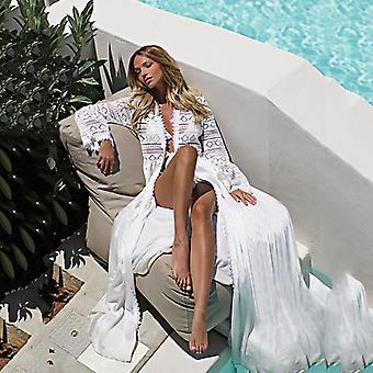 2021 Boho Biały szydełkowy dzianiny plaża cover up sukienka kobiety tunika długie pareos bikini pływać coverups szaty plage beachwear