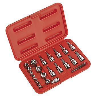 Sealey Ak6193 Trx-stjernede Socket og sikkerhed Bit sæt 29Pc 1/4Sq og 3/8Sq drev