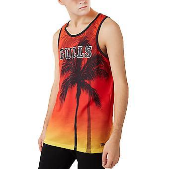 New Era Mens Chicago Bulls Summer City Tulosta Pyöreä kaula tankki liivi toppi - punainen
