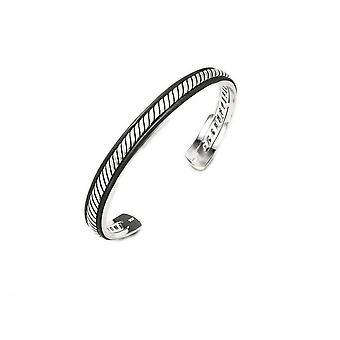 AINHOA Mäns Rush armband i Massive Silver 925 och läder