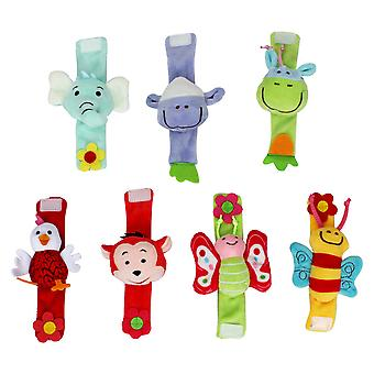 7pcs Animals Wrist Rattle Set Elephant Fox Chicken Butterfly Bee Plush Toys For Infant
