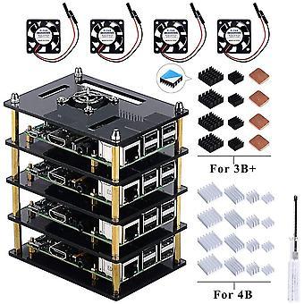 FengChun Für Raspberry Pi 4 Modell B Raspberry Pi 3 B + Gehäuse 4 Schichten Transparent Klar Acryl