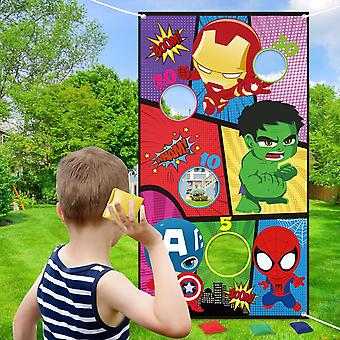 Superhero Bean Bag Toss, Indoor Outdoor Throwing Game And Family, Party Banner,