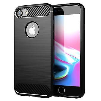 Tpu Kohlefaser-Gehäuse für iphone 7 plus schwarz mfkj-771