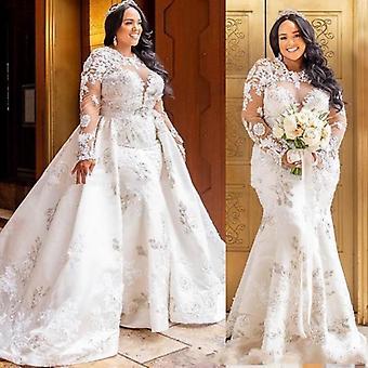 Avtakbar blonder langermet havfrue afrikansk brudekjole