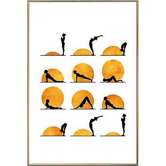 JUNIQE Print - Yoga Sun - Yoga Poster in Geel & Oranje