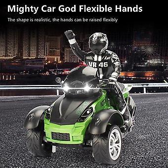 Alta simulación RC motocicleta control remoto moto drift coche flash led luz rotación toy (verde)