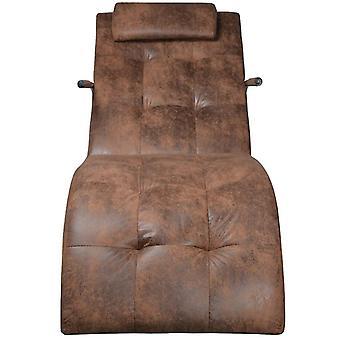 vdaXL chaise couchée avec appuie-tête Tissu en daignite brun