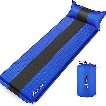 Memory Foam Inflatable Sleeping Pad Memory Foam Camping Rembourrage Coussin pour randonnée Camping Escalade 196x68x4cm (bleu foncé)