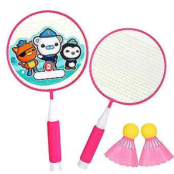 Badminton Rackets Game Small Badminton Playing Training Rackets With Ball(RosePink)