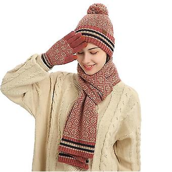 3 Pcs Winter Hat Scarf And Gloves Set For Men And Women(RED)