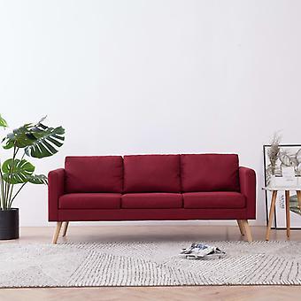 vidaXL 3 canapé-lit canapé en tissu de vin rouge