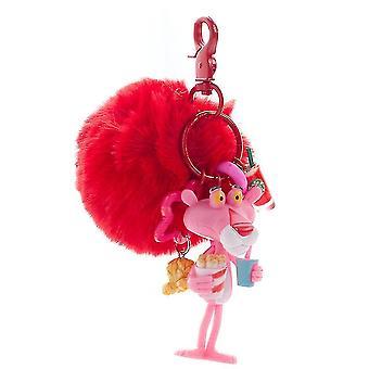 الكرتون الوردي النمر سلسلة المفاتيح خاتم قلادة الفتيات الحلي أفخم