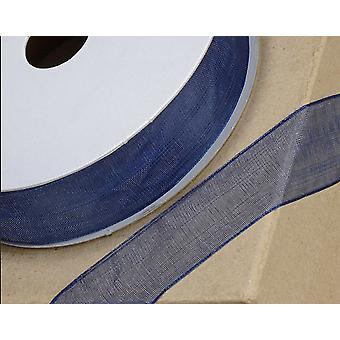25m Navy Blue 23mm Wide Woven Edge Organza Lint voor ambachten