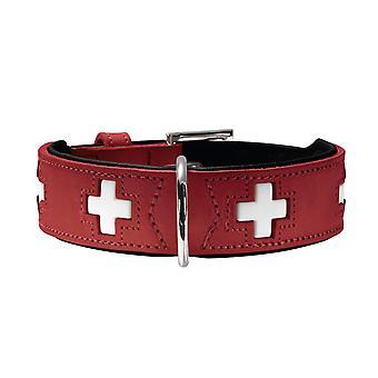 Collar Swiss 47 Organic Leather, Small, 38 - 43.5 cm, Red/Black