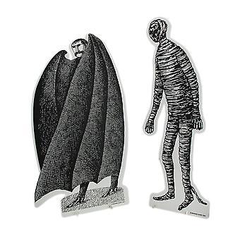 Sæt med 2 sorte & hvid Edward Gorey vampyr og mumie pap udskæringer