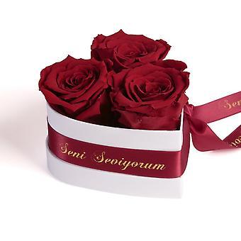 Seni Seviyorum Rosor Heart Box 3 Eternal Roses i Mörkröd Hållbar 3 år