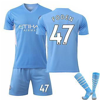 Foden #47 Jersey Home 2021-2022 New Season Manchester City F.C. Fotboll T-Shirts Jersey Set för barnungdomar