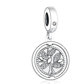 925 Sterling Ezüst Charms karkötő medál Családi életfa Gyöngy Dangle Nők DIY Ékszer | Varázsa