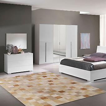 Rugs -Patchwork Leather Cubed Cowhide - Beige Tones