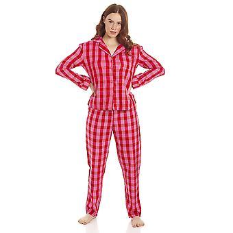 Camille Naisten Vaaleanpunainen & Punainen Checkered Flannel Pyjama Set