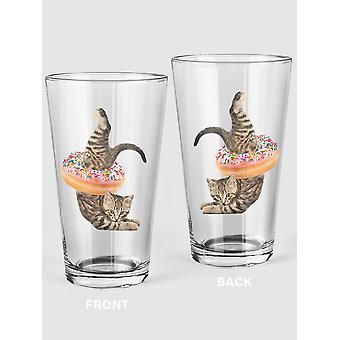 Funny Cat With A Donut Pint Glass -SPIdeals Designs