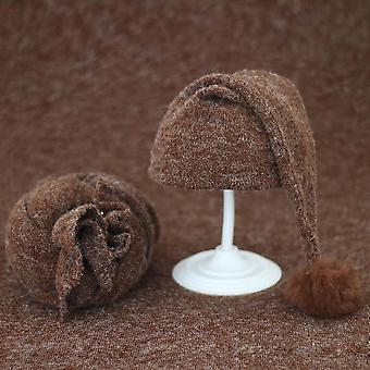Ensemble de 2 pièces d'accessoires de photographie de nouveau-né super mignons couverture et bonnet de chapeau tricoté (Wrap And