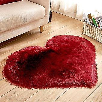 Herzförmige weiche Kunst-Schaffellfell-Teppiche (40x50cm langer Samt) (Rotwein)