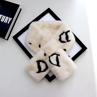 Decote de pelúcia pescoço encolher para outono casaco de inverno vestidocoledrocolbig d em branco